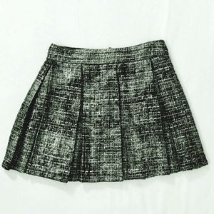 Alice & Olivia BLACK & SILVER TWEED PLEATED SKIRT